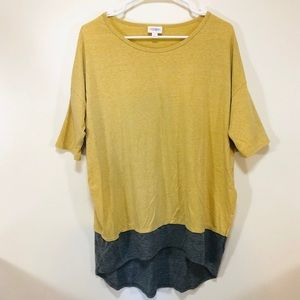 LuLaRoe | Yellow and Gray Two Tone Irma Tee